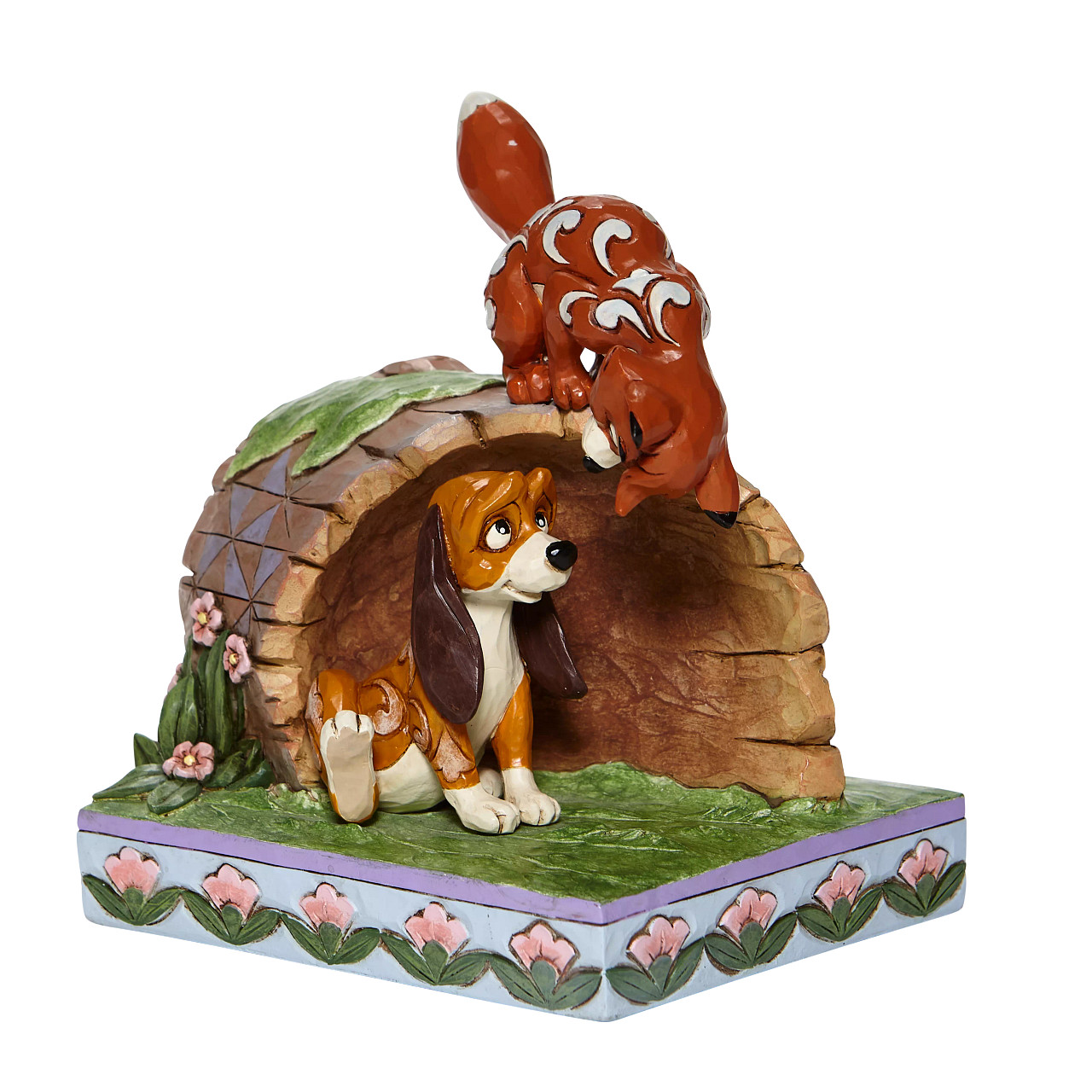 Disney Traditions - Unlikely Friends (Fox and Hound Peeking in Log)